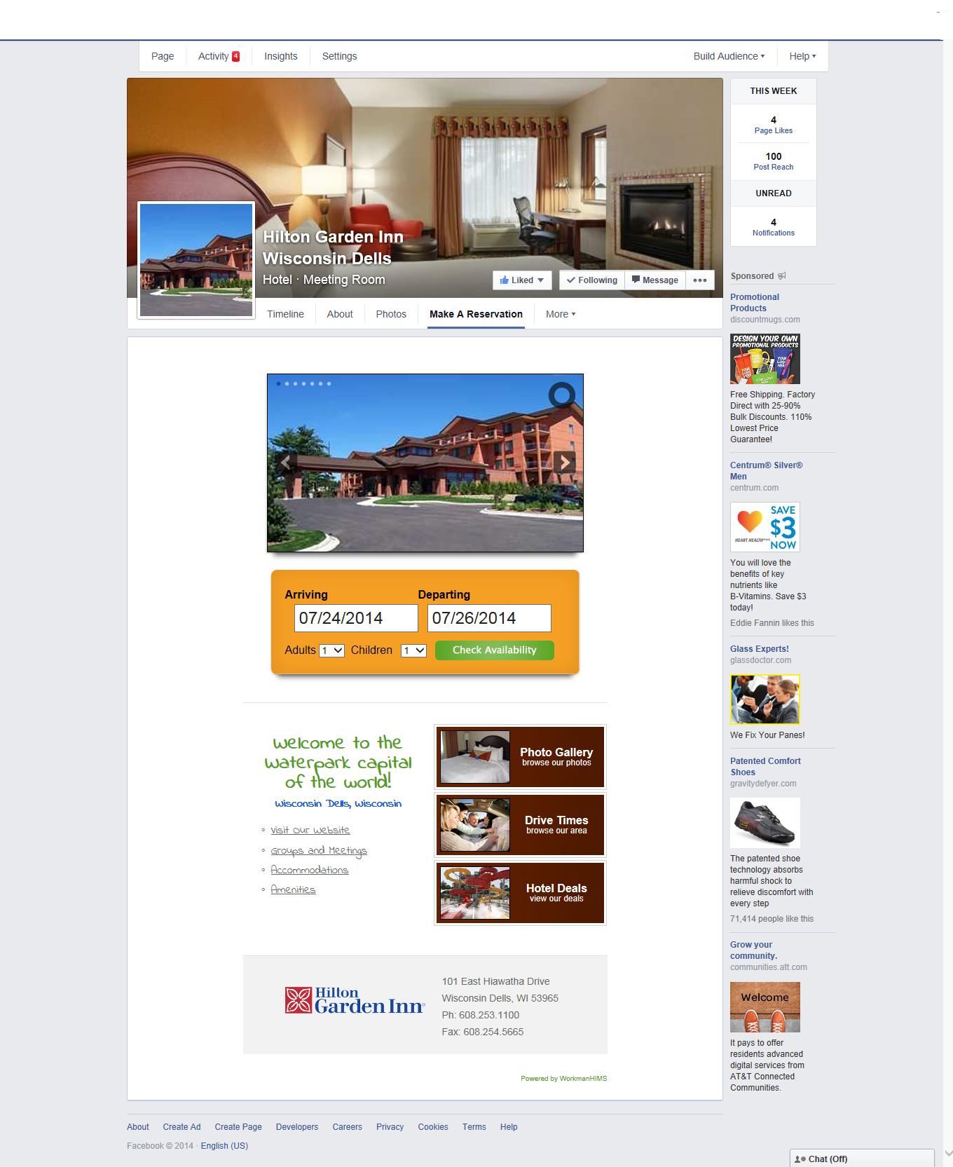 Wisconsin Dells Hilton Garden Inn Facebook Page booking calendar